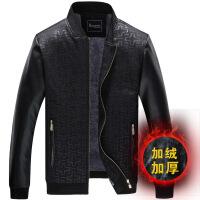 新款秋冬商务休闲男式夹克中老年茄克衫男装加绒加厚爸爸装外套