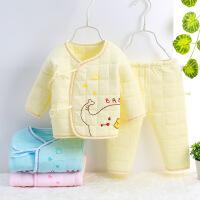 秀贝星 新生儿保暖内衣套装纯棉初生婴儿衣服 秋衣冬季夹棉系带和尚服加厚