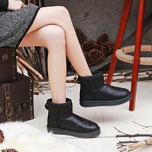 【满200减100】【毅雅】新款冬季雪地靴皮面防水女短靴厚底女鞋韩版棉靴短筒靴子女YM7WZ7797