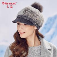 kenmont毛呢帽子女冬天韩版潮毛球帽拼接贝雷帽女时尚保暖鸭舌帽2452