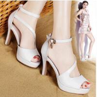 古奇天伦夏季女鞋罗马一字带鱼嘴鞋凉鞋高跟女夏新款性感细跟HRE8661