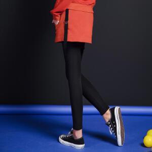 七格格冬新款 织带拼贴贴袋砖红色百搭运动休闲磨毛打底裙裤 女
