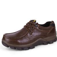 冬季男士休闲皮鞋真皮系带加绒保暖棉鞋防滑中年厚底耐磨大码男鞋