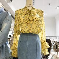 韩国ulzzang2018春装新款小清新碎花围巾领雪纺衫女喇叭长袖上衣