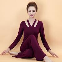 春夏季新款中长袖瑜伽服短袖套装显瘦瑜珈健身表演服女运