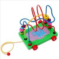 木质小象卡通动物串珠拖车 绕珠拖拉积木玩具 益智儿童玩具