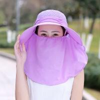 夏季骑车防晒头套袖套户外遮阳护脸太阳帽骑行防尘口罩全脸面罩女 紫色 单帽子