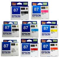 爱普生原装 EPSON 87墨盒 T0870亮光色 T0871照片黑色 T0872青色 T0873洋红色 T0874黄