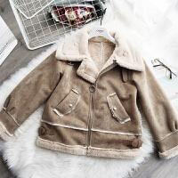 冬季新款短款羊羔毛外套女 加厚麂皮绒皮毛一体机车棉衣上衣