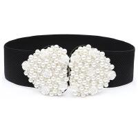 韩版女士甜美串珍珠腰封时尚白色花朵宽腰带连衣裙装饰百搭配饰潮