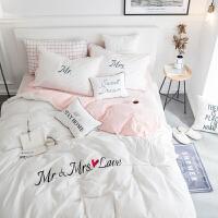 全棉水洗棉四件套公主风刺绣床单被套纯棉1.5m双人1.8m米床上用品 2.0m(6.6英尺)床 床单款套件