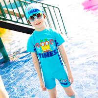 2018031714603儿童泳衣 男童分体游泳衣宝宝卡通泳装中大童泳衣泡温泉泳衣 蓝色