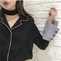 新款拼接条纹单排扣长袖雪纺上衣宽松显瘦百搭衬衫女