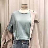 韩国ulzzang2018春装新款学生百搭圆领糖果色上衣女宽松短袖T恤衫