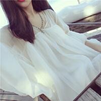 韩观2017夏季女装雪纺衫长袖防晒衣服娃娃蝙蝠衫中长款上衣罩衫打底衫SN674 白色 均码