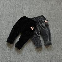 冬装韩版女童金丝绒裤子保暖宝宝棉裤冬1-3岁加厚加棉外穿哈伦裤
