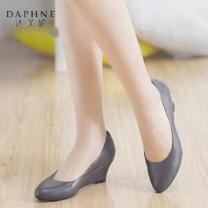 达芙妮旗下杜拉拉正品女鞋秋季高跟鞋 圆头浅口坡跟纯色牛皮套脚单鞋