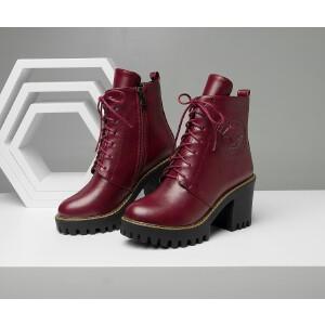 O'SHELL欧希尔新品136-Q69欧美粗跟高跟女士短靴