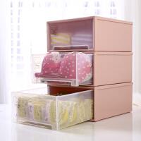 家用抽屉式内衣收纳盒塑料三件套单格内裤文胸盒衣柜收纳箱整理盒