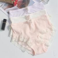 3条装 立体棉网眼中高腰纯棉内裆女士内裤蕾丝无痕三角裤