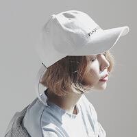 帽子女夏天字母刺绣长带子棒球帽白色鸭舌帽潮人时尚百搭遮阳帽男