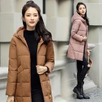冬季外套女棉衣中长款韩版新款时尚宽松连帽休闲纯色加厚