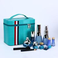 大容量化妆包旅行双层手提化妆箱大号护肤化妆品多层收纳盒小方包 蓝色