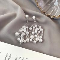 水晶网红耳钉耳饰品气质珍珠长款吊坠个性百搭耳坠耳环女 主图款