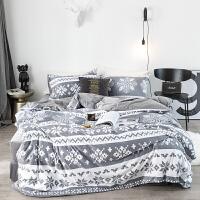 中国风绒珊瑚天鹅绒四件套加厚保暖短毛法莱绒磨毛床上用品冬季