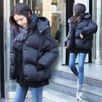 韩观2017秋冬装新款大码女装秋冬季中长款加厚棉衣外套女01 黑色