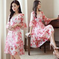 古莱登简约中长款年夏季连衣裙修身淑女显瘦优雅舒适 粉红色