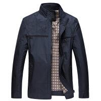 新款秋冬季中年男装外套男士夹克大码爸爸装纯色立领拉链夹克衫上衣
