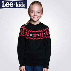 LEE童装 秋款女童毛衣针织衫棉 儿童中大童套头打底衫圆领2RW4096