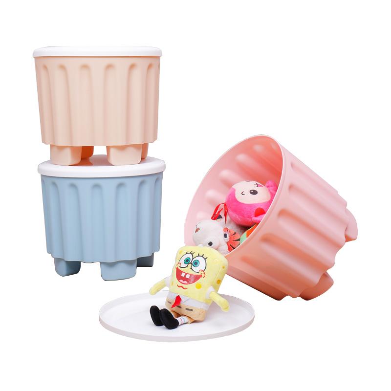 【买一送一】宝优妮收纳凳可坐成人多功能玩具储物凳塑料凳子家用可叠加换鞋凳可叠加收纳凳 玩具收纳凳 可坐人