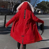 【限时抢购】冬季棉衣女中长款2019新款大毛领保暖棉服过膝加厚连帽派克服外套