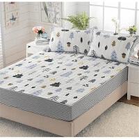 全棉加厚床笠单件纯棉夹棉儿童床罩防滑1.5m1.8m床垫席梦思保护套 乳白色 月光森林