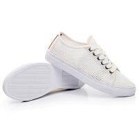 伊贝拉(YI_BELLA)小白鞋女2017春夏季新款手工缝制拼色透气网布平底女士休闲鞋女鞋