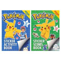 Pokemon Stickers Books Collection 神奇宝贝口袋妖怪 宝可梦贴纸活动书2册套装 享受儿