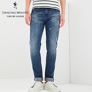 与狼共舞牛仔裤2017夏季新款男装纯棉小脚修身男士牛仔长裤4309
