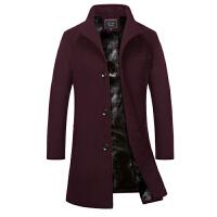 风衣男韩版中长款冬季20新款帅气外套百搭加绒加厚冬天呢子大衣