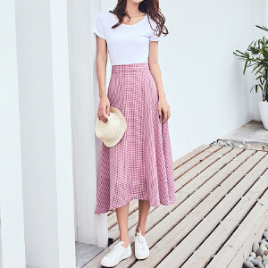 RANJU 然聚2018女装夏季新品新款 韩版小清新雪纺格纹半身裙中长裙