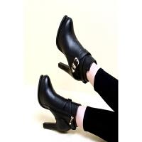 欧美秋冬新款超高跟短靴防水台粗跟马丁靴裸靴皮带扣圆头女鞋潮靴 黑色