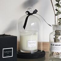 蜡烛永生花玻璃罩透明防风摆件香薰蜡烛台创意装饰品 玻璃罩丝带底座 10*18