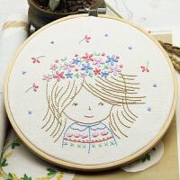 手工diy刺绣材料包刺绣套件初学卡通儿童手工艺花环女孩公主