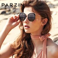 帕森偏光太阳镜 女士个性金属猫眼炫彩膜大框潮墨镜9916