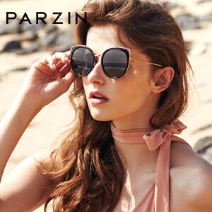 帕森偏光太阳镜 女士个性金属猫眼炫彩膜大框潮墨镜 2018新品9916