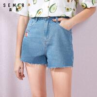 森马牛仔短裤女2019夏季新款高腰显瘦裤子韩版潮流学生可爱刺绣