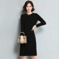 纯色长款修身打底羊毛衫 冬季新品圆领女式羊毛衫 打底裙毛衣