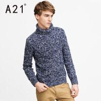 以纯A21高领毛衣针织衫男 长袖青年圆领套头打底衫冬季纯色羊毛衫学生