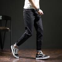 【2件2.5折】唐狮牛仔裤男青年修身型小脚弹力裤薄款男原色破洞男装九分牛仔裤